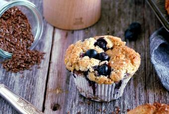 Vegan Blueberry Muffins with Flaxseed