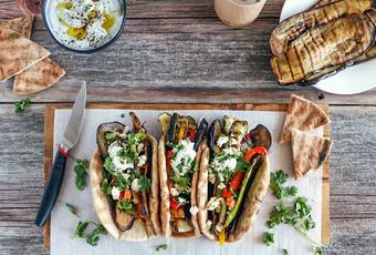 Grilled Vegetable Gyros with cumin yogurt dip